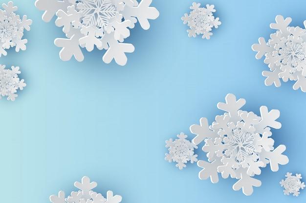 Sneeuwvlokken voor wintertijd met ruimtetekst ruimteachtergrond