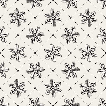 Sneeuwvlokkenpatroon voor de winterachtergrond. creatieve en retro-stijlillustratie