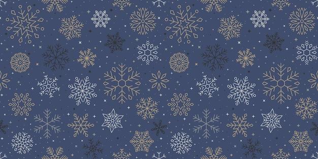 Sneeuwvlokpatroon, kerstmis en gelukkig nieuwjaar achtergrond