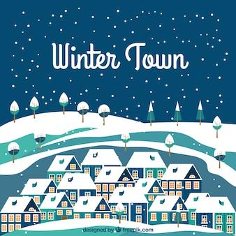 Sneeuwwinter stad