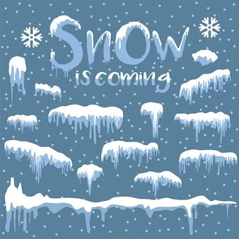 Sneeuwwit komt design element op blauwe achtergrond