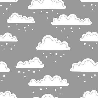 Sneeuwwolken op een grijze achtergrond. vector naadloos patroon