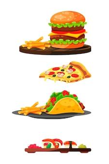 Snel bereid en geserveerd fastfood, hamburger en frietjes op houten dienblad