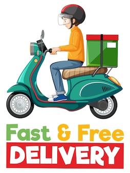 Snel en gratis bezorglogo met fietsman of koerier