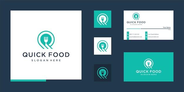 Snel eten met letter q-logo-ontwerp en visitekaartje