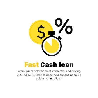 Snel geld lening icoon. gemakkelijke lening, onmiddellijke betaling, snelle geldgroei, financiële diensten. gemakkelijk krediet, snelle geldverstrekking. vector op geïsoleerde witte achtergrond. eps-10.
