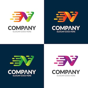 Snel letter n logo-ontwerp