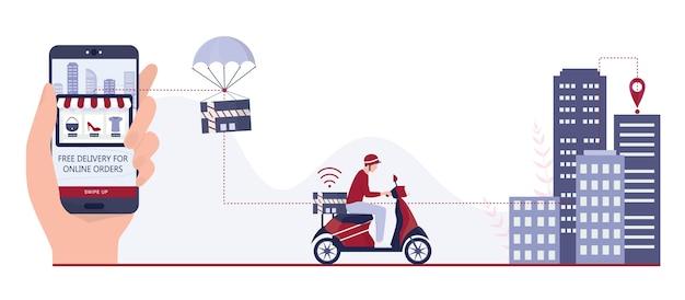Snel leveringsconcept. bestel op internet. voeg toe aan winkelwagen, betaal met kaart en wacht op koerier. logistiek en transport van pakket naar huis. illustratie geïsoleerde vlakke afbeelding
