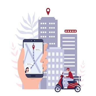 Snel leveringsconcept. bestel op internet. voeg toe aan winkelwagen, betaal met kaart en wacht op koerier. logistiek en transport van pakket naar huis. .