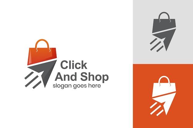 Snel vliegtuig met modern logo van taswinkel voor logo-sjabloon voor online winkel