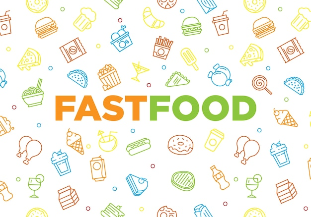 Snel voedsel achtergrondtextuur met het concept van het krabbelbeeldverhaal