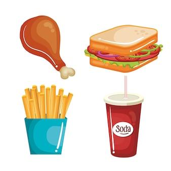 Snel voedsel dat over witte achtergrond wordt geplaatst. vector illustratie.
