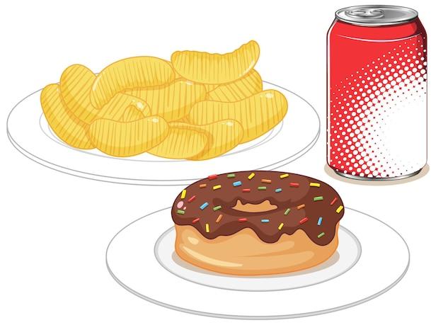 Snel voedsel of ongezonde kostsnack op witte achtergrond wordt geïsoleerd die