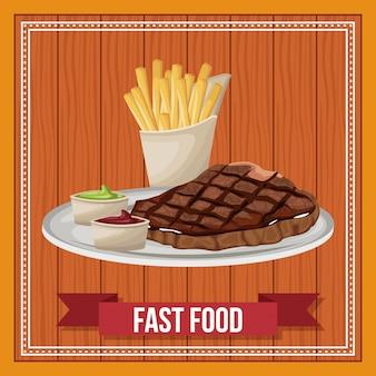 Snel voedselcombo met lintbanner over houten achtergrond