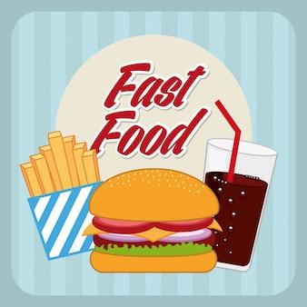 Snel voedselontwerp over blauwe vectorillustratie als achtergrond
