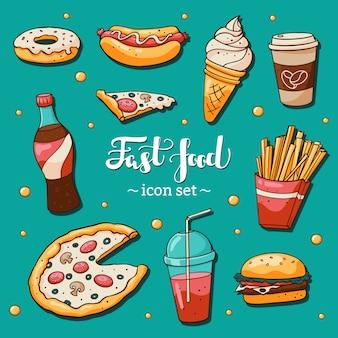 Snel voedselpictogrammen die op blauwe achtergrond worden geplaatst