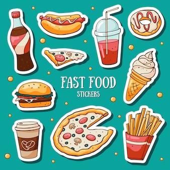 Snel voedselstickers die op blauwe achtergrond worden geplaatst