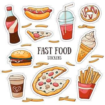Snel voedselstickers die op witte achtergrond worden geplaatst