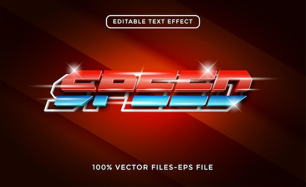 Snelheid 3d-tekst neoneffect premium vector
