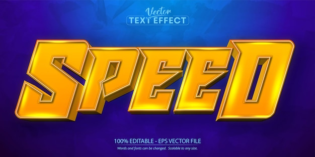 Snelheid bewerkbaar teksteffect, oranje kleur cartoon letterstijl
