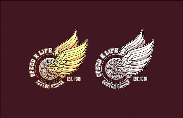 Snelheid en leven aangepaste motorfiets logo vintage moderne wiel vleugels illustratie