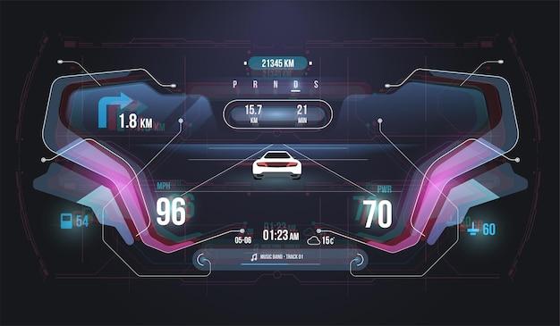 Snelheid hud kilometer prestatie-indicatoren dashboard.