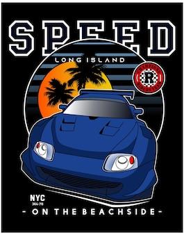 Snelheid op het strand kant auto vector illustratie ontwerp grafisch om af te drukken