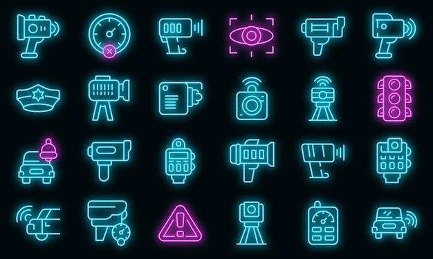 Snelheid radar pictogrammen instellen. overzicht set snelheid radar vector iconen neon kleur op zwart