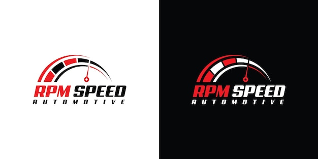 Snelheid rpm-logo-ontwerp voor auto-bedrijfssjabloon