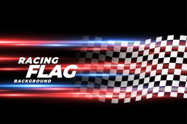Snelheidslichten met geruite racevlag achtergrond