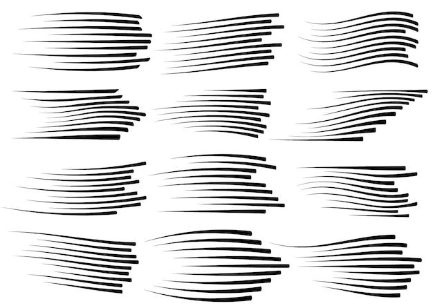 Snelheidslijnen geïsoleerd. zwarte bewegingslijnen op witte achtergrond.