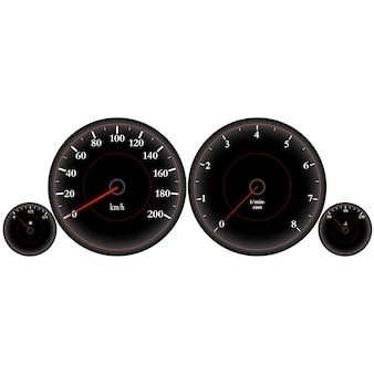 Snelheidsmeter, autodashboard, hoge snelheid, sportwagensnelheidsmeter