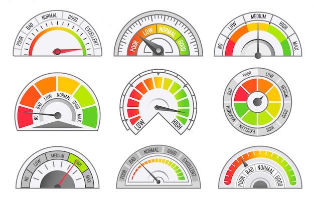 Snelheidsmeter en kilometerteller schalen en pointers