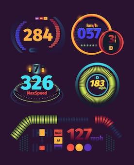Snelheidsmeter futuristisch. auto race snelheid panel brandstof en kilometers indicatoren dashboard vector sjabloon. illustratie snelheidsmeter auto, autorace interface