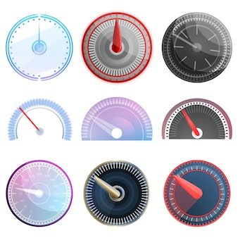 Snelheidsmeter icon set, cartoon stijl