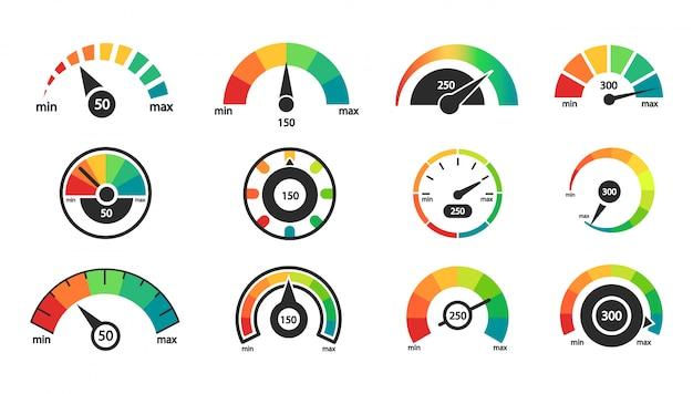Snelheidsmeter iconen set. indicator schaal. zakelijke kredietwaardigheid.
