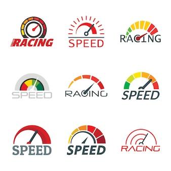 Snelheidsmeter niveau-indicator logo set