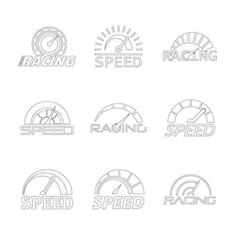Snelheidsmeter niveau paneel logo set