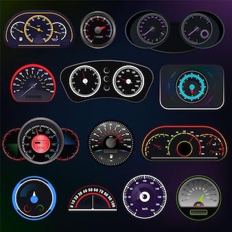 Snelheidsmeter vector auto snelheid dashboard paneel en speed-up power meting ontwerpset van snelheidsbeperking controletechnologie met pijl
