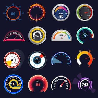 Snelheidsmeter vector auto snelheid dashboard paneel en versnellen vermogensmeting illustratie set