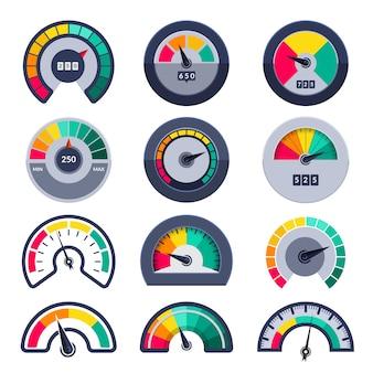 Snelheidsmeters symbolen. geef niveau score meter indices meet sjablonen