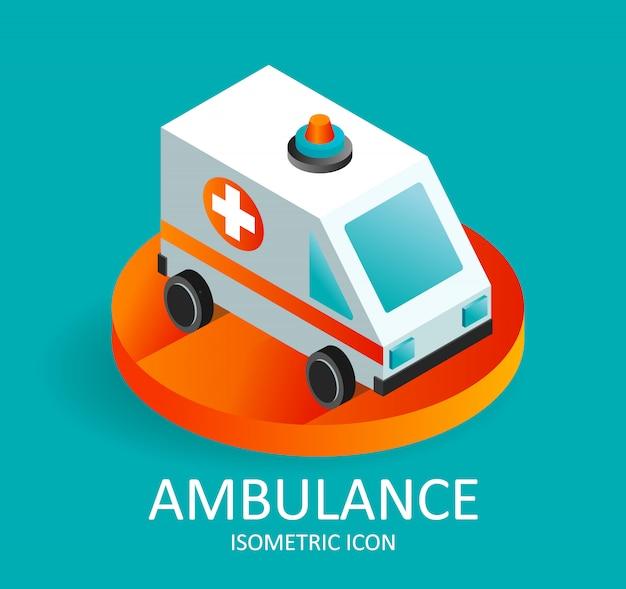 Snelle ambulance pictogram van isometrische stijl.
