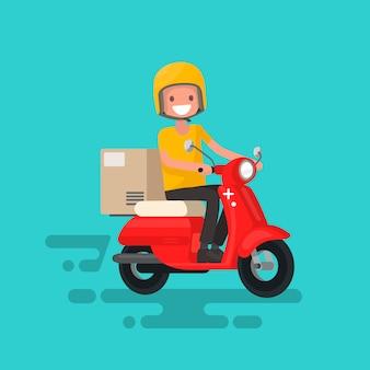 Snelle bezorging. de man op de fiets heeft haast om de bestelling te bezorgen
