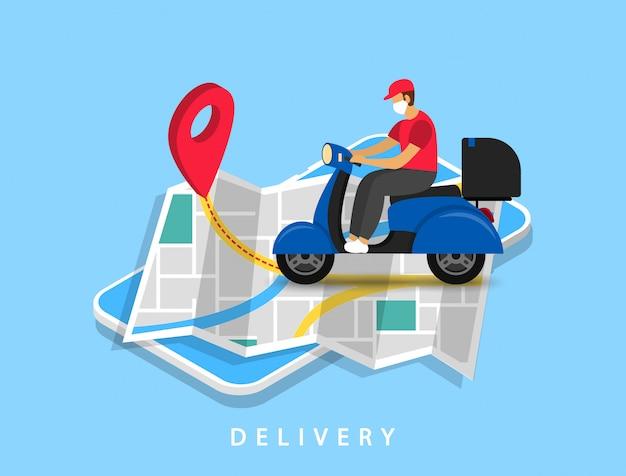 Snelle bezorging. gemaskerde koerier die op een scooter rijdt, gaat op de kaart naar de aanwijzer. isometrisch.