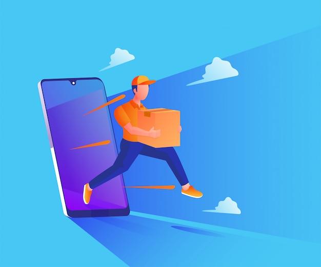 Snelle bezorgservice met een smartphone-afbeelding