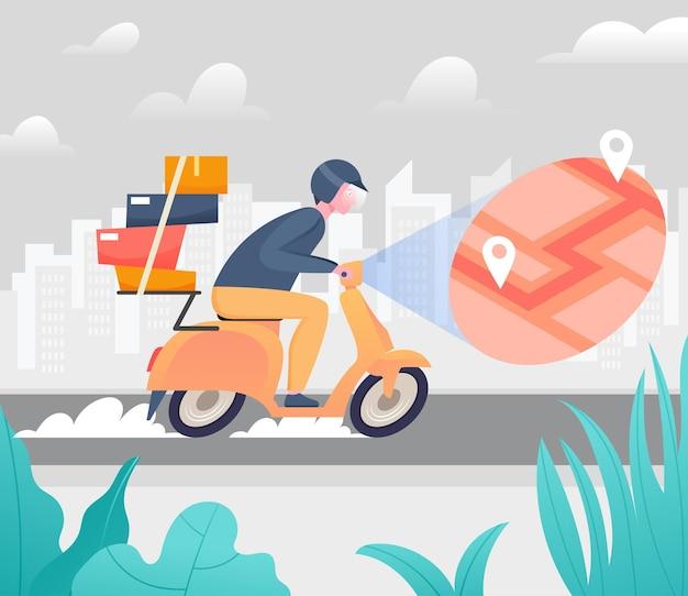Snelle bezorgservice met scooter