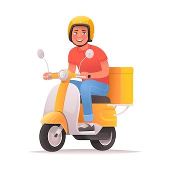 Snelle en gratis levering vrolijke koerier rijdt op een scooter en vervoert pizza's foodservice