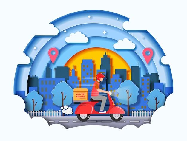 Snelle levering door e-commerce concept voor scooters