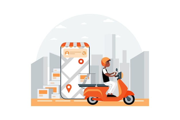 Snelle levering door het concept van de scooterillustratie