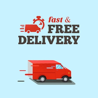 Snelle levering illustratie. typografische inscriptie voor snelle gratis levering. isometrische rode bestelwagen